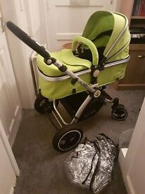 iSafe Pram 3 in 1 Travel System. Lime Green