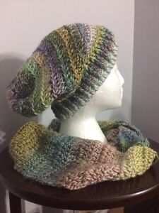 Various crocheted hats, scarves, headbands, cowls