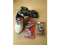 Golf shoes Footjoy Size 2 with spare spikes and wrench