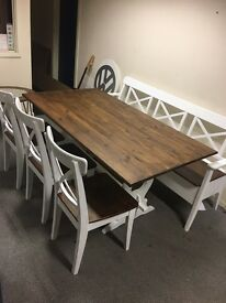 Dining Table And Chairs (6 Seater) Including Storage Bench Farmhouse County Rustic Style Shabby Chic