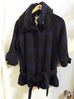 Manteau bleu noire laine dakota M femme black coat jacket wool