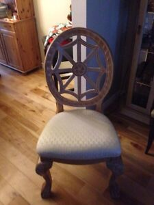 3 padded wood chairs