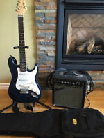 Electric Guitar With Case, Amp and Stand w/ Two Patch Cords