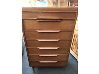 Solid wooden slimline vintage chest of drawers