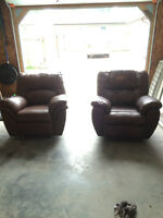 2 brown leather recliners