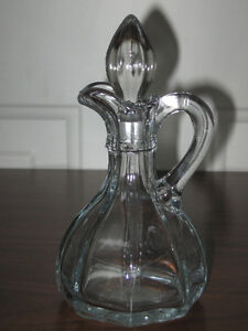 ...Old Clear Glass Vinegar Cruet With Stopper...