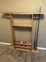 Solid Red oak Pool Cue Billiard Rack