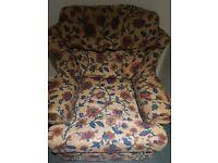 Vintage fabric 1+2 seater.