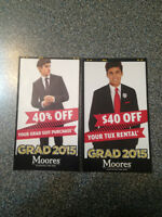 FREE $40-off tux rental or 40%-off suit purchase coupons- Moores