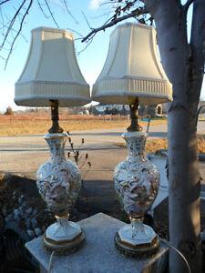 Vintage Pair Italian Capodimonte Cherub Table Lamps Porcelain