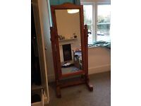 Solid Oak freestanding mirror