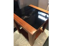 Wood and black glass table