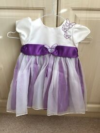 Purple/ white dress 9-12 month bhs
