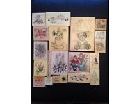 20 Christmas wooden rubber stamps excellent condition, some unused, crafting, card making