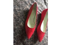 Red Pointy Snake Skin Russell& Bromley Shoes. UK Size 7