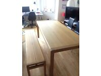 Dinning table HABITAT high quality - solid wood - + 1 bench + 3 chairs