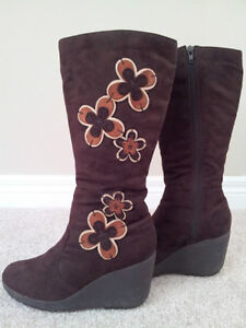 Dark Brown Suede Long Boots (Size 6.5) - Like New
