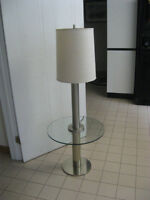 Glass Table with Lamp