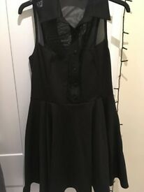 Black collared dress with mesh panels size 10