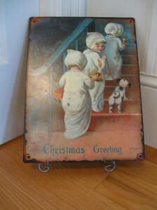 "ADORABLE METAL ""CHRISTMAS GREETINGS"" DOOR / WALL HANGER"