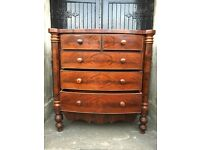 Superb Victorian Mahogany Bow Fronted Chest of Drawers