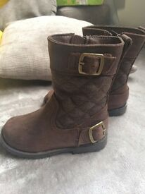 M&S Kids brand new brown suede boots size 5