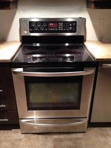 Stainless LG Stove with Warming Drawer