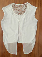 White light shirt with flowered lace and open back Women's XS-S