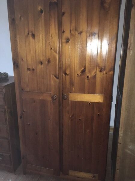 double wardrobe in pine suitable for upcycling