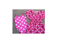 Girls 3-4 summer holiday bundle - swimming costume and beach cover up