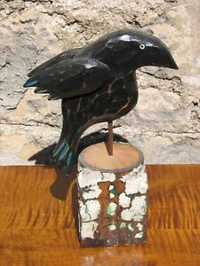 Large Hand Carved, Hand Painted Wooden Folk Art Crow on a Stump