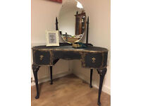 Elegant vintage upcycled kidney shaped dressing table in chalk graphite colour
