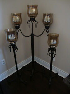 New-wrought iron floor candle holders set of 3