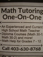 NW - EXPERIENCED HIGH SCHOOL MATH TUTOR 30-1,30-2,20-1,20-2,10C