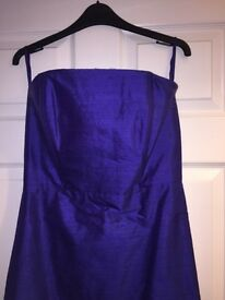 Purple raw silk prom dress