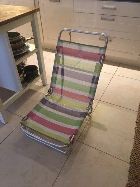 Low folding beach chair