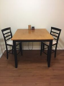 Pub style table and chairs.