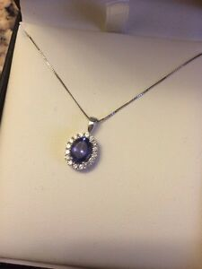 14k white gold diamond tanzanite necklace Cornwall Ontario image 3