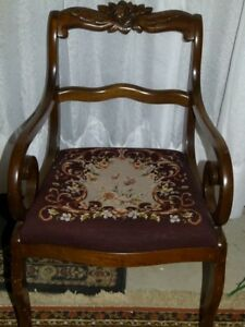 BROWN ANTIQUE VINTAGE NEEDLE NET CHAIR