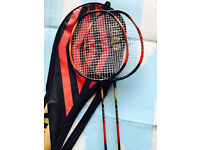 Two quality carbon lightweight badminton rackets, immaculate, take both for only £45
