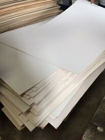 8x4 sheets of plywood with finish colour on one side caravan wall boards etc