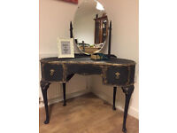 Elegant vintage upcycled kidney shaped dressing table in chalk graphite and gold effect colour
