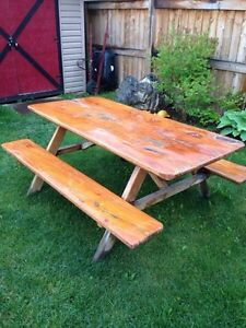 Hand made solid wood picnic bench