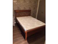 Wooden double bed & mattress