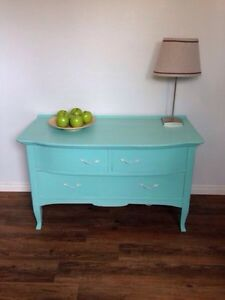 Lightly Distressed Tiffany Blue Dresser
