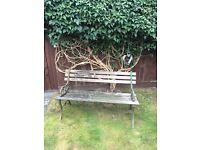 Garden bench. Wooden with iron ends