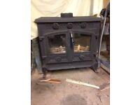 Black wood burning stove