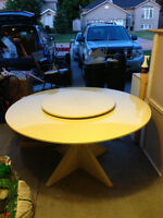 Custom Made Marble Dining Table with Lazy Susan