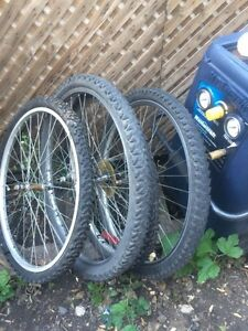 Assorted bike tires and rims