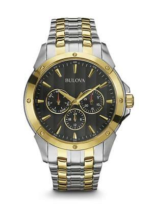 New* Bulova 98C120 Classic Black Dial Two Tone Stainless Steel Mens Watch